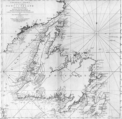 Picture Of Captain James Cook Chart Of Newfoundland 1775