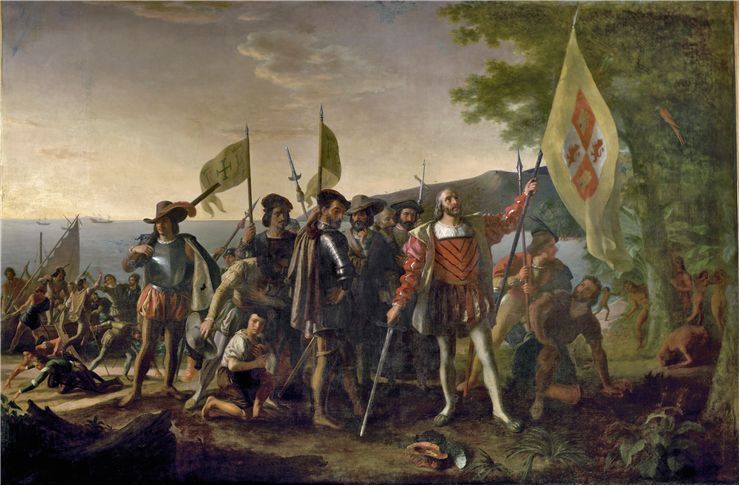 Picture Of Christopher Columbus Lands On San Salvador
