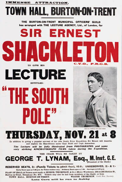 Picture Of Ernest Shackleton Promotional Poster For A Lecture Tour