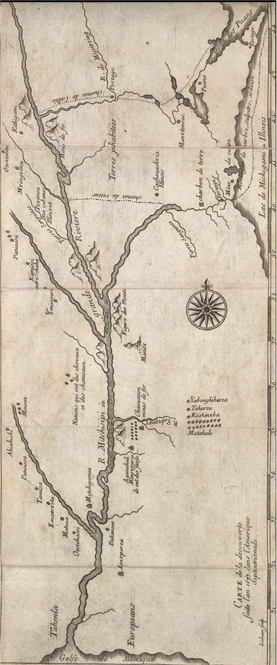 Picture Of Jacques Marquette And Jolliets 1673 Expedition Map