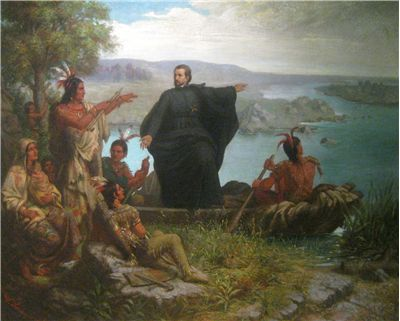 Picture Of Jacques Marquette And The Indians