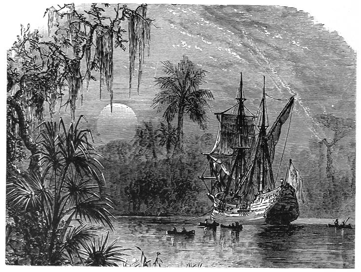 Picture Of Juan Ponce De Leon Expedition Seeking The Fountain Of Youth In Florida