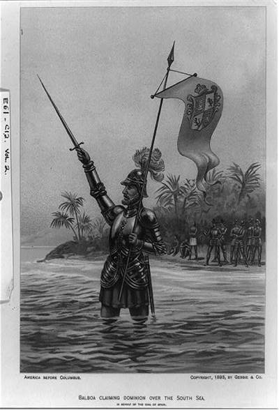 Picture Of Vasco Nunez De Balboa Claiming Dominion Over The South Sea